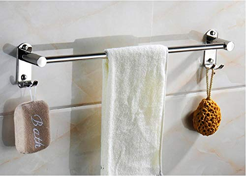 FTYYSWL Single Bar Double Bar Waterproof Stainless Steel,Self Adhesive Hand Towel Holder,Towel Rack Hanger,Towel Shelf,in Bathroom/Kitchen-A-Two_installations-50CM