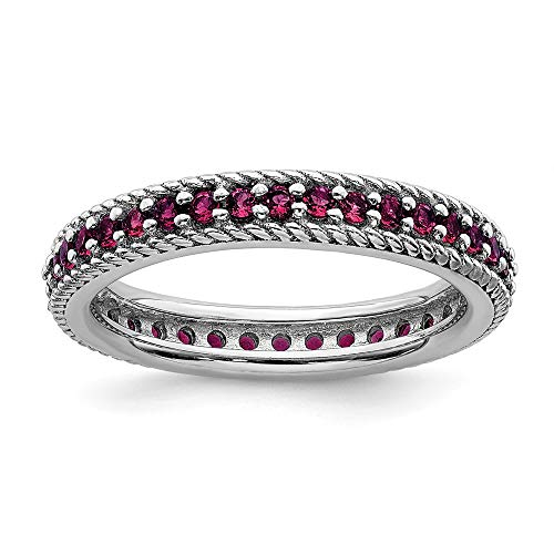 925 Sterling Silver Created Red Ruby Eternity Band Ring Size 8.00 Stackable Gemstone Birthstone July Fine Mothers Day Jewelry For Women Gifts For Her