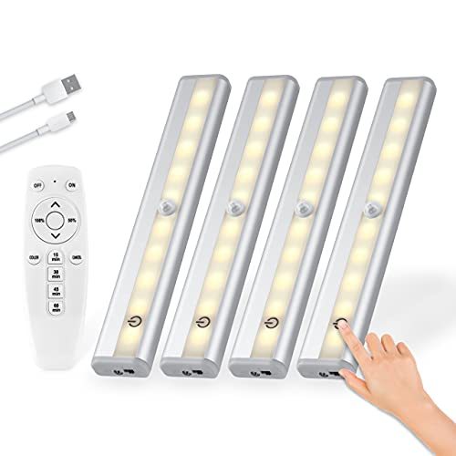 Otdair Remote Control Under Cabinet Lighting 4Packs, 1000mAh 20-LED Rechargeable Dimmable Closet Lights, Wireless Under Counter Light for Kitchen Shelf Hallway Stairs, Timing & Multiple Colors