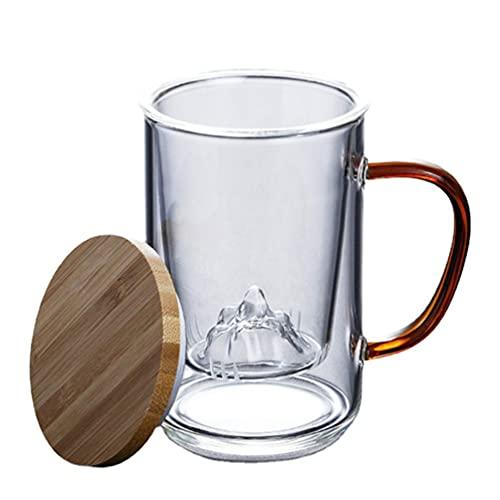 cabilock Tazas de Café de Cristal Forma de Montaña Taza de Té de Doble Pared Vasos de Agua Taza de Café Espresso con Mango para Bebidas Jugo de Agua Color Aleatorio