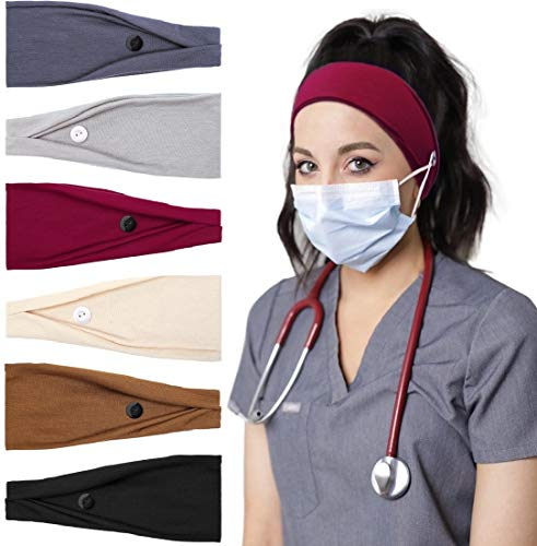 Huachi Headbands for Women with Buttons Ear Saver Headband for Nurses Elastic No Slip Hair Bands Workout, Solid Colors