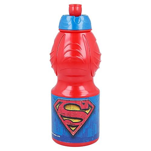 SUPERMAN  Bottiglia d'acqua per bambini con chiusura anti-perdite   Borraccia riutilizzable per bambini con tappo anti-gocciolamento – Senza BPA – 400 ML