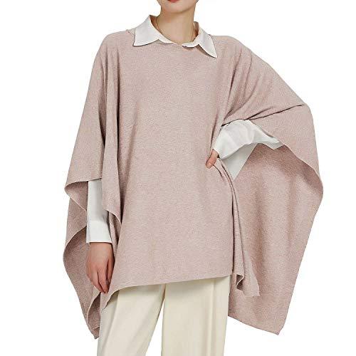 PULI Damen Classic Pullover Strick-Poncho Kaschmir Feel Sweatshirt Damen Jumper mit Gürtel erhältlich
