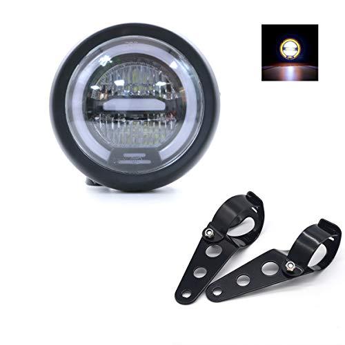 Faro LED per Moto, Distanza Faro Universale 6.5 pollici con Supporto per Moto Cafe Racer - Luce Gialla