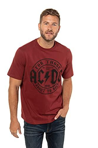 JP 1880 Herren große Größen Übergrößen Menswear L-8XL T-Shirt, Bandshirt, ACDC, Halbarm Oxid-rot 5XL 723268 53-5XL