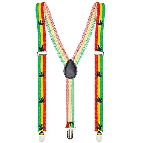 Amakando Reggea Hosenhalter Jamaika Hosenträger bunt Kiffer Y-Form Hosen Träger Hippie Bundhalter Rastafari Kostüm Accessoire Hanf Braces Herren