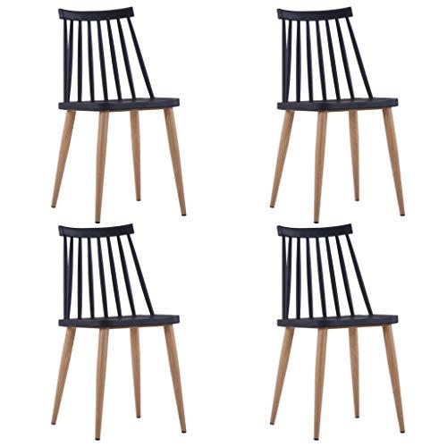 Cikonielf 4 sillas de comedor negras de plástico de 42 x 45,5 x 78 cm, asiento sin brazos para comedor con patas fabricadas en acero con efecto veteado de madera