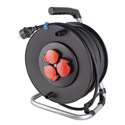 as - Schwabe 20124 Dévidoir de câble de sécurité en plastique spécial et câble à gaine caoutchouc H07RN-F 3G2,5 Protection IP44 Longueur de câble 40 m