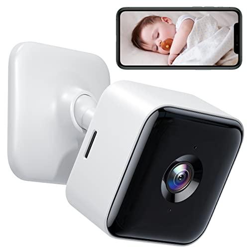 Cámara de Vigilancia WiFi Interior 1080P FHD Cámara, Visión Nocturna, Audio Bidireccional, Detección de Movimiento, Funciona con Alexa/Google Home, para Bebé/Mascota/Anciano, 1 Unidades