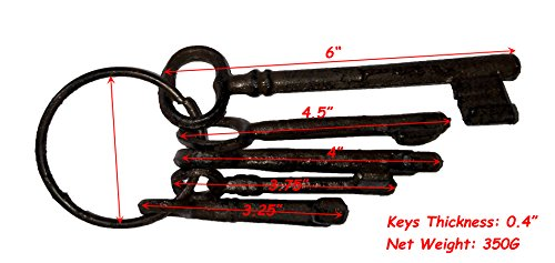 TM Large Size Antique Vintage Cast Iron Wall Rack, Key Holder, Handcraft Coat Rack Salom/é Idea 5 Keys-Brown