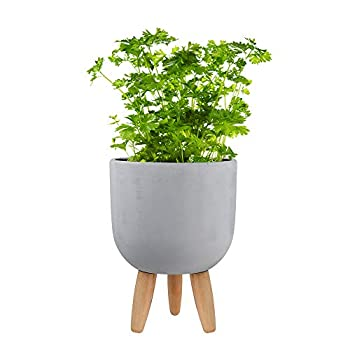 Worth Garden 9 inch Round Cement Planter with Wooden Legs Indoor Outdoor Decorative Grey Flower Pot for Tree Plants with Stand Modern Industrial Large Concrete Containers Home Decor Office - G949A00
