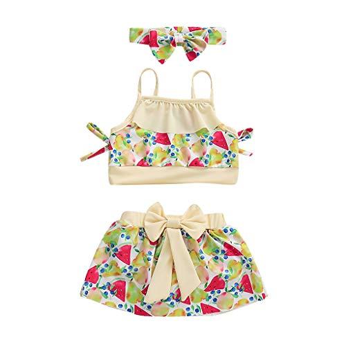 MRULIC Baby Mädchen Bikini Beach Bademode Weste Tops + Minirock + Stirnbänder Badeanzug Sets(Mehrfarbig,4-5 Jahre)