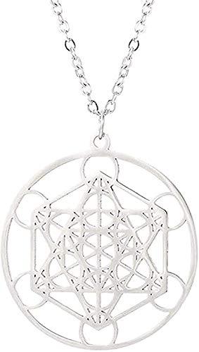 YOUZYHG co.,ltd Collar Pentagram Magic Amuleto Collar de Acero Inoxidable Mujeres Árbol de la Vida Colgantes de Luna Joyería Vintage