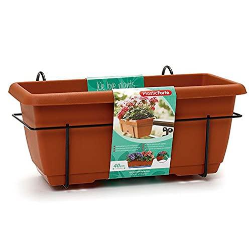 Acan Plastic Forte - Jardinera para balcón con Plato y Soporte de metálico, 40 x 19,5 x 17 cm. Macetero de plástico para Colgar, 8L con Plato Integrado para Agua (Marrón)