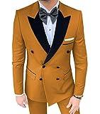 MoranX Trajes de hombre Casual Slim Fit 2 piezas doble pecho terciopelo pico solapa liso baile esmoquin Blazer pantalones boda novios