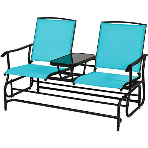 2 Person Outdoor Swing Glider Bench Loveseat Rocker Rocking Chair Lounger with Middle Tempered Glass Coffee Tea Table Steel Frame Ideal for Garden Patio Lawn Backyard Deck Area Pool Side Use