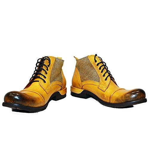 PeppeShoes Modello Buecello - EU 44 - US 11 - UK 10-29 cm - Handgemachtes Italienisch Bunte Herrenschuhe Lederschuhe Herren Gelb Stiefel Stiefeletten - Rindsleder Handgemalte Leder - Schnüren