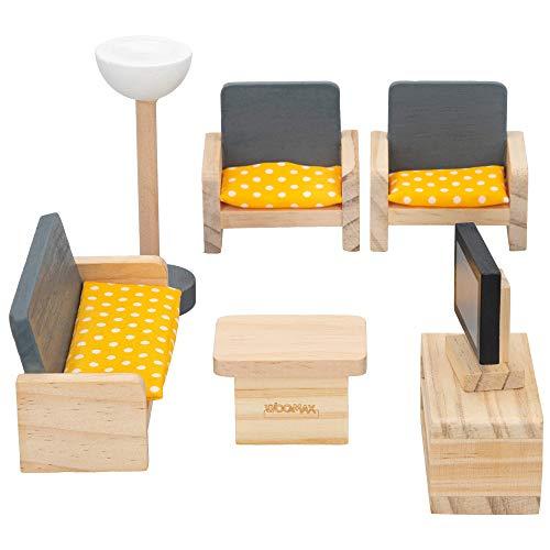 WOOMAX - Set mobiliario casa de muñecas madera Salón (46469)