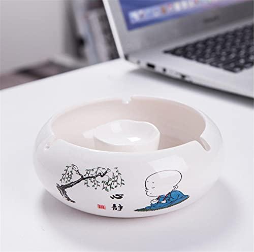 Cenicero de cerámica chino, personalidad elegante y a prueba de viento muebles para el hogar sala de estar de moda 14*5cm