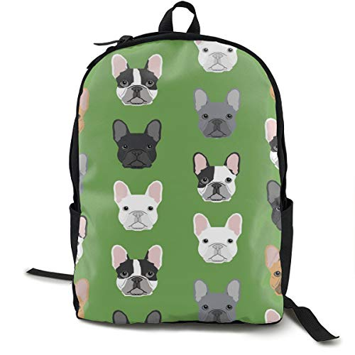 Green Frenchie Dog Daypack With Side Pockets, Travel And Sport Backpack Rucksack Large Capacity College School Bookbag Anti-Theft Multipurpose for Girls Boys