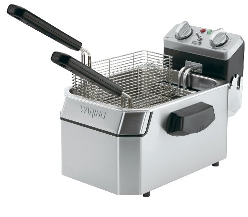 Waring Commercial WDF1550 240-volt Heavy-Duty Single Electric Deep Fryer, 15-Pound