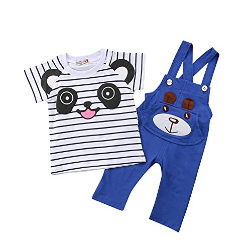 Inevnen Baby Girls Boys 2 Pieces Outfit Cartoon Stripe T-Shirt Short Sleeve Tops Bib Suspender Pants Suit (Blue, 6-12m)