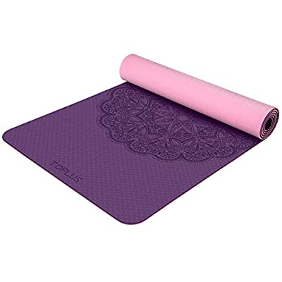 TOPLUS Yoga Mat, Premium 1/4 inch Print TPE Yoga Mat Eco Friendly Non Slip Fitness Exercise Mat with Carrying Strap - Workout Mat for Yoga, Pilates and Floor Exercises