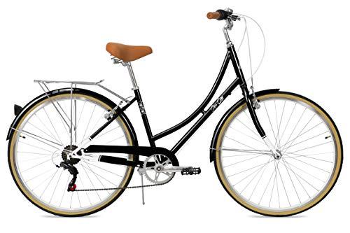 FabricBike Step City - Bicicletta da passeggio, da donna, stile olandese, stile olandese, con cambio Shimano e cestino, sella confortevole, colore: nero