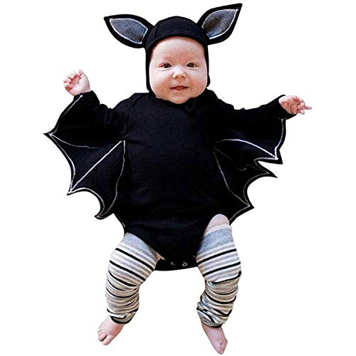 YOUNGER TREE Baby Boy Girl Halloween Clothes, Black Bat Costume Cloak Romper Hat Outfit (Black, 12-18 Months)