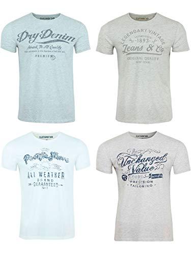 riverso Herren T-Shirt Rundhals RIVLeon 4er Pack O-Neck Kurzarm Print Tee Shirt 100% Baumwolle Regular Fit Grün Blau Weiß Grau Rot Orange S - 5XL, Größe:L, Farbe:Farbmix 13