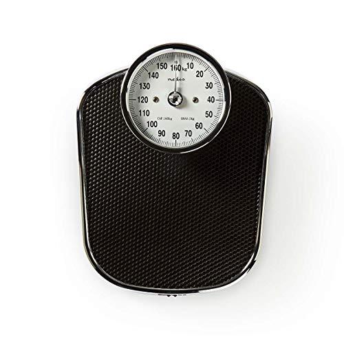 Nedis - Personenweegschaal Analoog - Retro design - Tot 160 kg - Roestvrijstalen afwerking - Duidelijk leesbare cijfers - Nauwkeurigheid 1000 g - Zwart