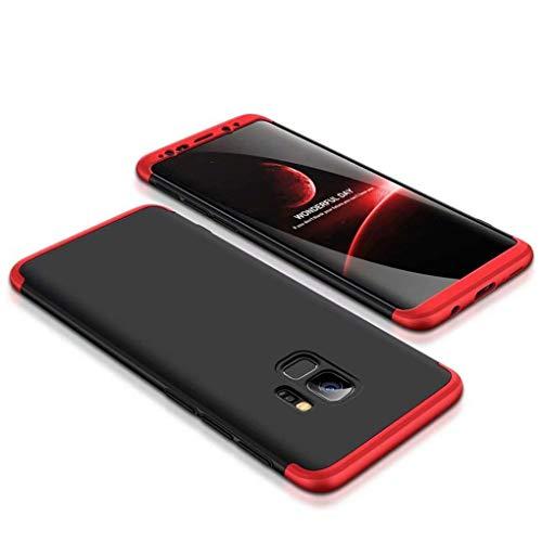 Homikon 360 Grad Hart PC Hülle 3 in 1 Komplettschutz Tasche Plastik Handyhülle mit Tempered Glas Panzerglas Ganzkörper-Koffer Schutzhülle Kompatibel mit Samsung Galaxy S9 - Schwarz Rot