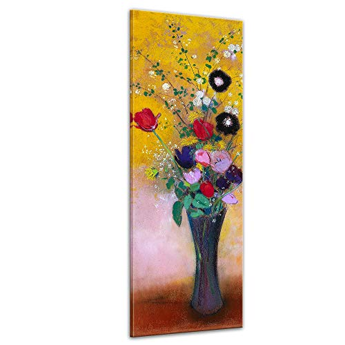 Wandbild Odilon Redon Blumen - 30x90cm hochkant - Leinwandbild Bild auf Leinwand Gemälde