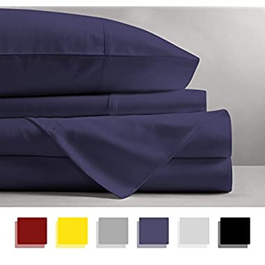 Mayfair Linen 100% EGYPTIAN COTTON Sheets, PLUM KING Sheets Set, 800 THREAD COUNT Long Staple Cotton, SATEEN Weave for Soft and Silky Feel, Fits Mattress upto 18'' DEEP Pocket
