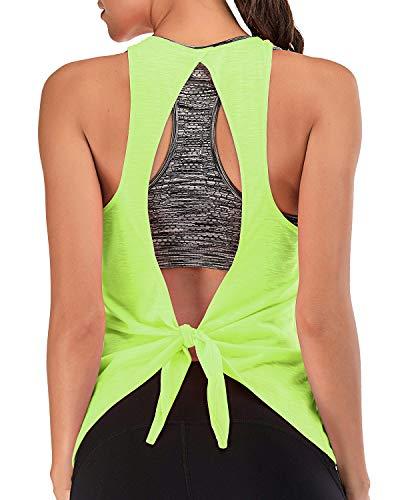 Sporttop Damen mit integrierten BH Yoga Oberteil Frauen Rückenfrei Workout Tanktop Fluorescent Green&Gray XXL