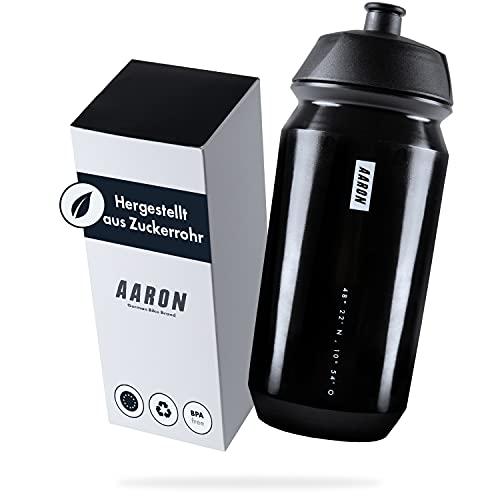 AARON ECO Trinkflasche aus nachhaltigem Zuckerrohr, 500 ml, leicht und auslaufsicher, praktische BPA-freie Wasserflasche für Sport, Fitness, Wandern, Outdoor in schwarz