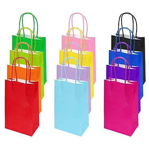 flintronic Papiertüten aus Kraftpapier, 12 Stück Papiertüten mit Henkel, Geschenkverpackung, Tüten Eschenktüten, Gastgeschenke Tüten, Mitgebseltüten, Geschenktüten Set - Mehrere Farben (25*19*10CM)