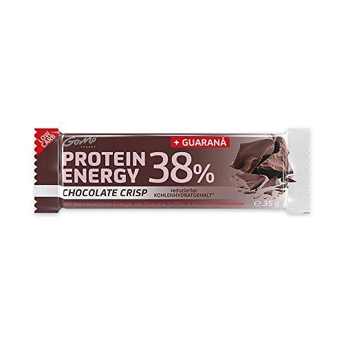 GoMo ENERGY® 38% PROTEIN POWER BAR │ Programa de aumento de la energía y la pérdida de grasa │ 200 mg de guaraná + L-carnitina y vitaminas B │ Fuente de proteína de alta calidad | Crujiente y suave | CHOCOLATE CRISP 18x35g