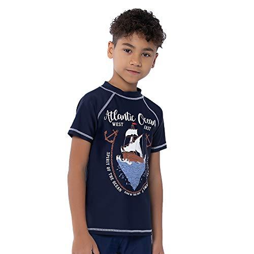 TIZAX Kinder Kurzarm UV Badeshirt UPF50 + Schwimmshirt Rashguard für Jungen Schnelltrocknend Marineblau 104