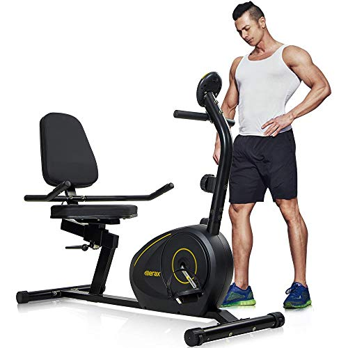 Merax Magnetic Recumbent Exercise Bike   8-Level Resistance   Quick Adjust Seat (Black/Yellow)