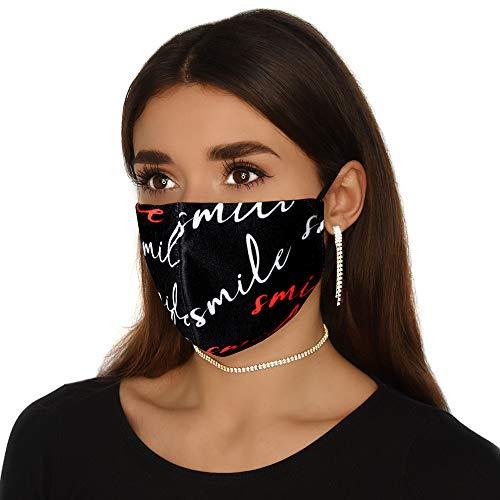Mund und Nasenschutz mit Motiv Smile Lustig | Stoff-Maske Mundschutz Waschbar Wiederverwendbar Atmungsaktiv | Lustig Smile Schwarz Baumwolle (1 x 1 Einheit) (Smile)