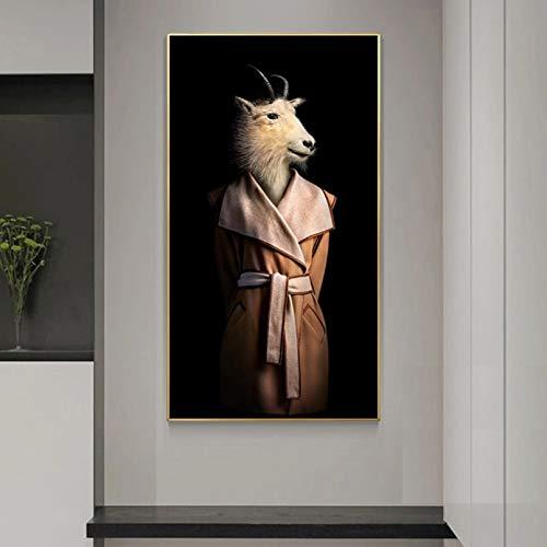 N/A Pittura su Tela Stampa Goat Antelope Dress Suit Canvas Painting Poster di Animali e Stampe Immagini a Parete per Soggiorno Home Decor No Frame Casa Muro Decorazione Regalo