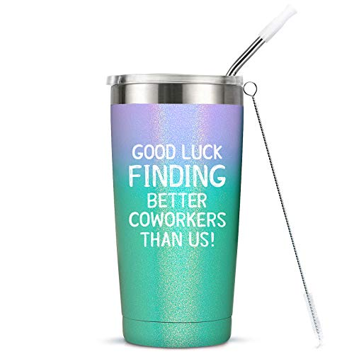 Going Away Gift for Coworker Women Goodbye, Farewell, Leaving Cup for Colleague Boss Co-worker Friends - Good Luck Finding Better Coworkers Than Us Tumbler Cup Mug, 20-Ounce