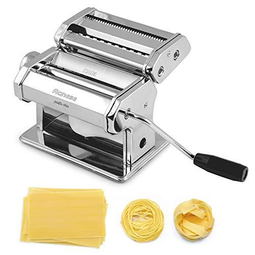 HABI Agnese Macchina per la Pasta fatta in Casa completa di 3 Accessori per preparare: Lasagne - Fettuccine - Tagliolini - Ravioli - Tortelli. Acciaio, Cromato, Argento.