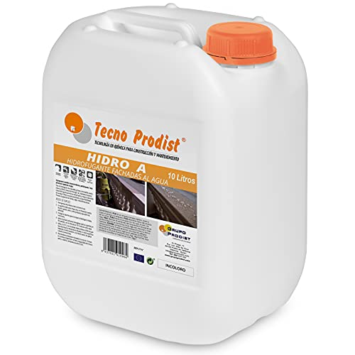 HIDRO A de Tecno Prodist - 10 Litros - Impermeabilizante Transparente al agua, Hidrofugante Incoloro para fachada, tejado, pared, muro, teja, ladrillo y piedra. (A Rodillo, brocha o pulverizador)