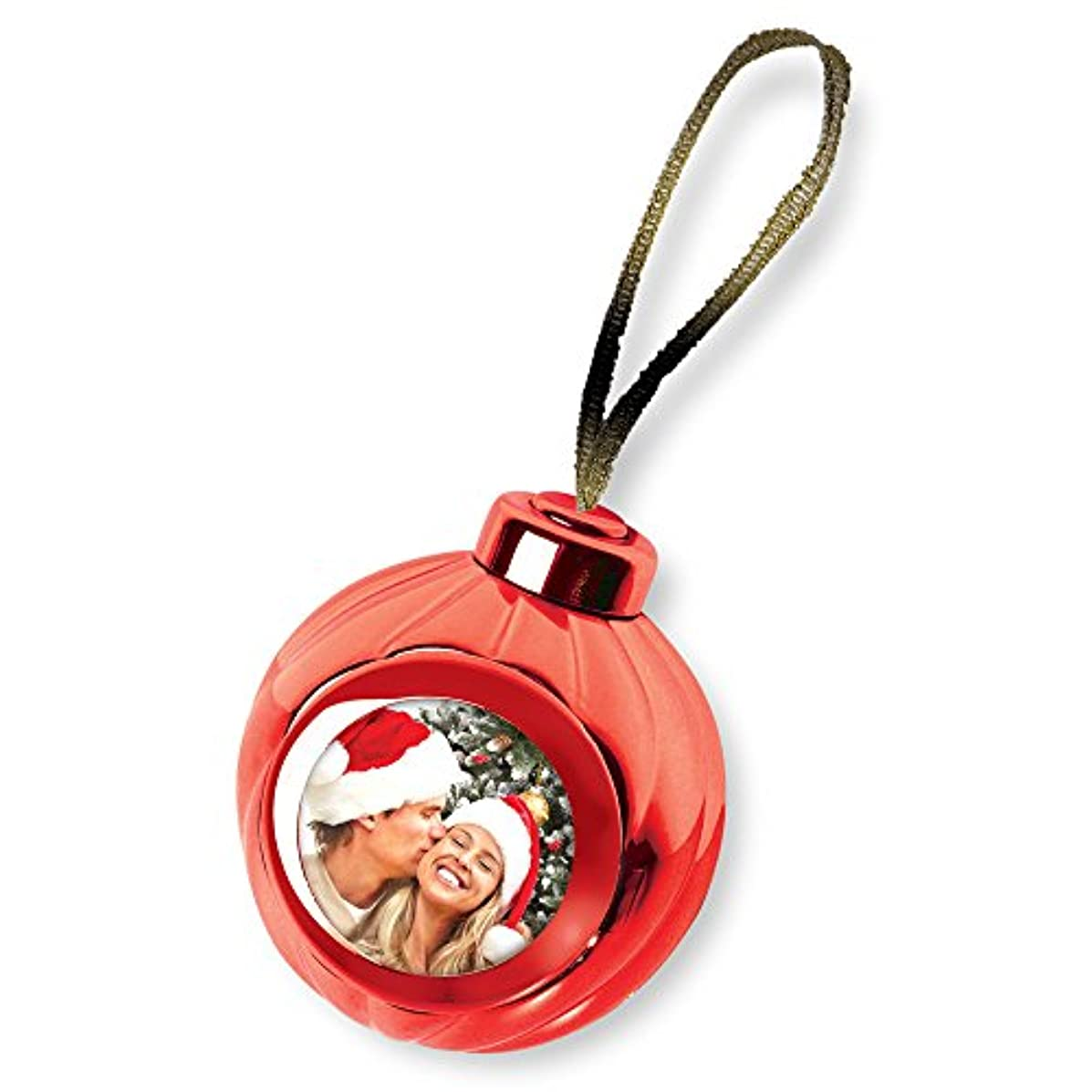 Launch Innovative Products Red Voice Recording Talking Christmas Ornament - Add Your Own Photo and Press a Button to Record and Play Back
