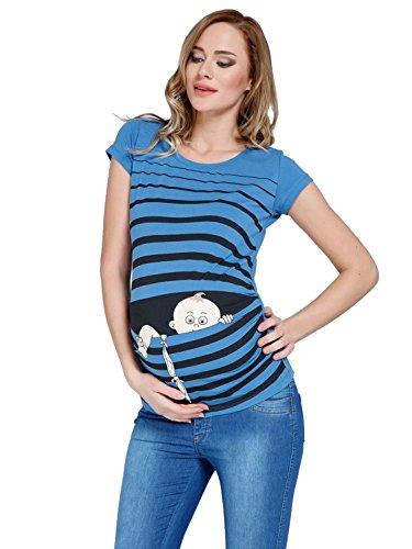 Baby Flucht - Lustige witzige süße Umstandsmode/Umstandsshirt mit Motiv für die Schwangerschaft/T-Shirt Schwangerschaftsshirt, Kurzarm (Dunkelblau, S)