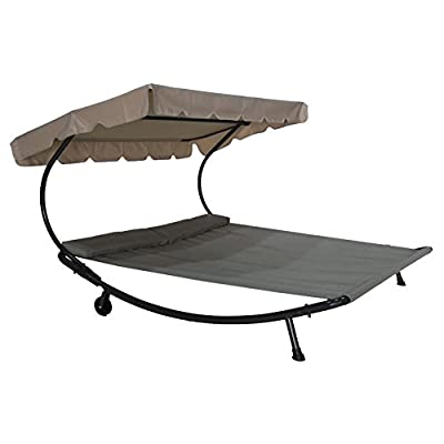 Abba Patio Outdoor Portable Double Chaise Lounge Hammock Bed with Sun Shade and Wheels, Grey