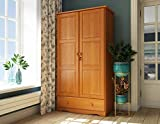 100% Solid Wood Universal Wardrobe/Armoire/Closet by Palace Imports, Honey Pine Color, 40'W x 72'H x 21'D, 2 Clothing Rods, 2 Shelves, 1 Lock, 1 Drawer Included. Additional Shelves Sold in Packs of 2.