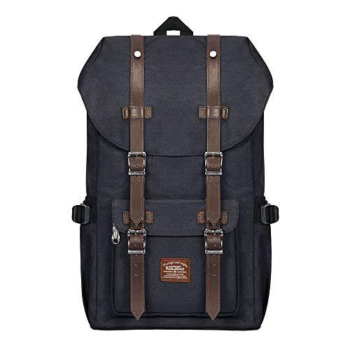 KAUKKO Unisex Nylon Rucksack im Vintage-Look mit Leder-Riemen als Schulrucksack, zum Wandern, Einkaufen, Reisen, Camping und für die Verwendung im Alltag,schwarz,L